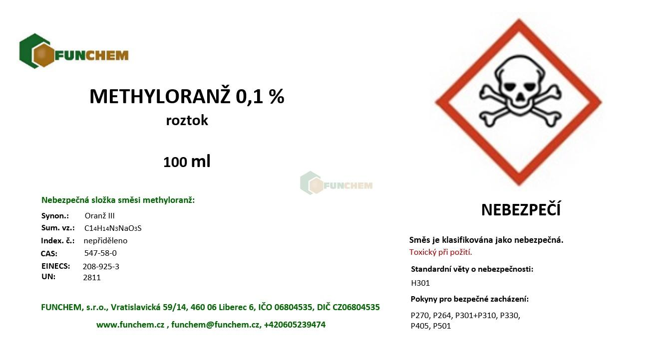 Methyloranž roztok konc. 0,1 % 100 ml